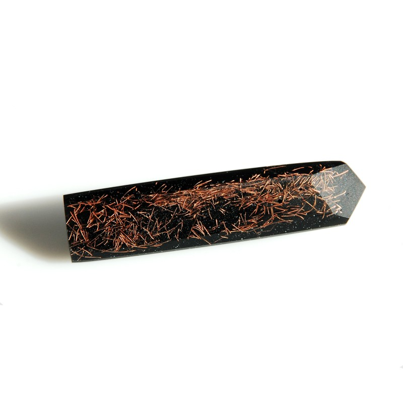 Rectangular Brooch With Copper Bits