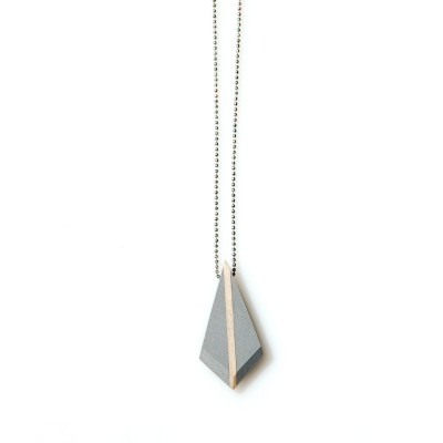 Rhombus Pendant with Wood