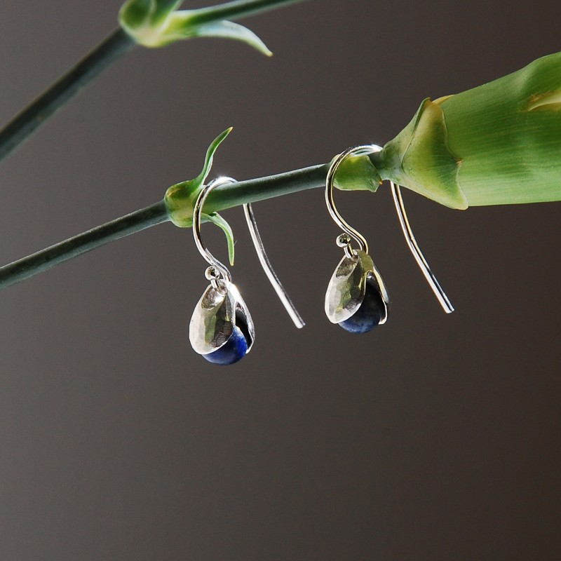 LILY OF THE VALLEY  earrings with lapis lazuli