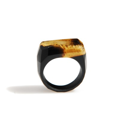 Unique black signet ring with baltic amber