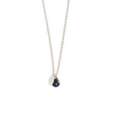 LILY OF THE VALLEY rhodiumplated necklace with lapis lazuli