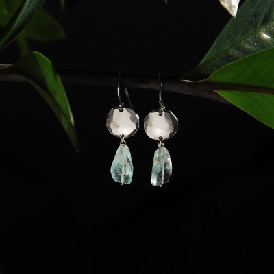 silver medallion earrings with crystals