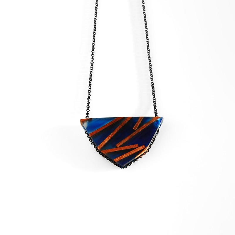 Blue Necklace with Wood
