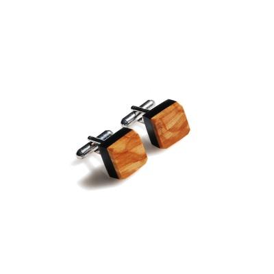 Kwadratowe spinki mankietowe z drewnem