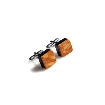 Square French Cufflinks with Olive Wood