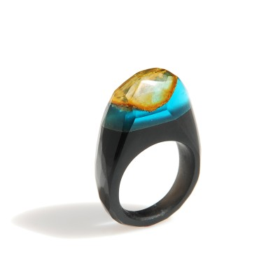 Unique black ring with baltic amber