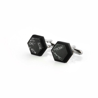 Black French Cufflinks with Steel Bits