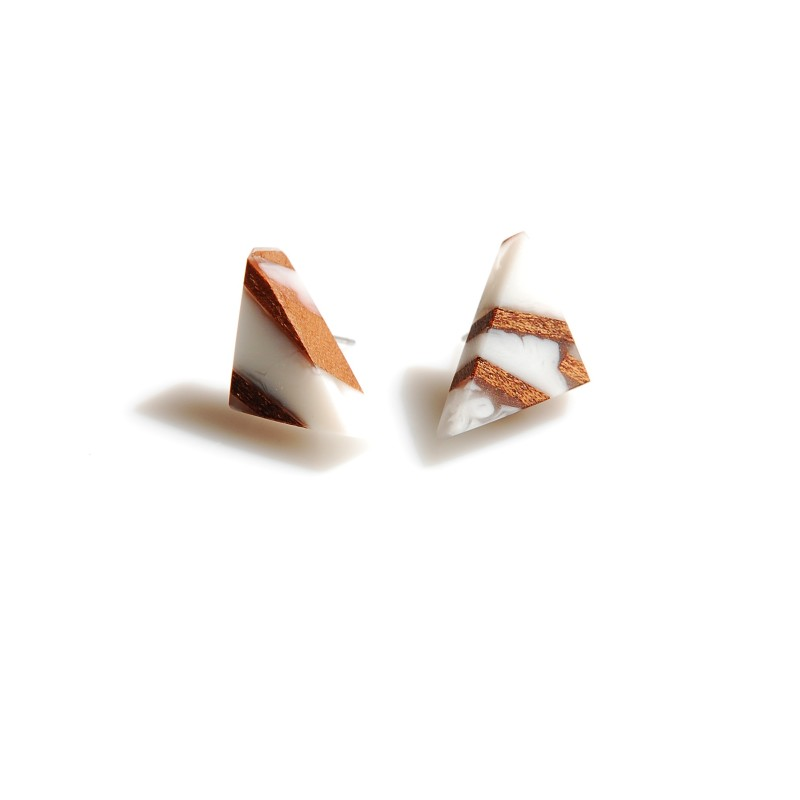 Triangles  Earrings  With Sapele Wood