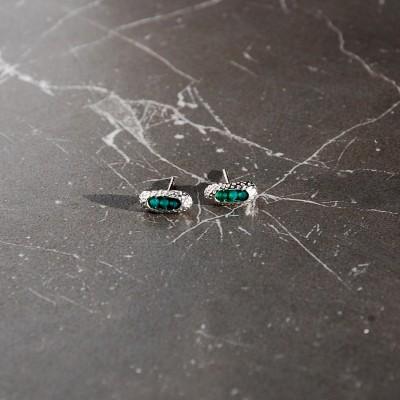 kolczyki srebrne z zielonym onyksem