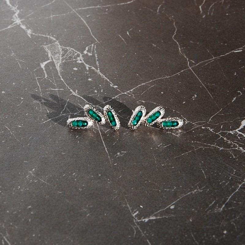 długie kolczyki srebrne z zielonym onyksem