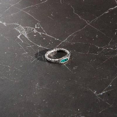silver ring with green onyx