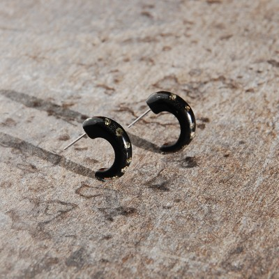 Hoops Earrings with Pyrite