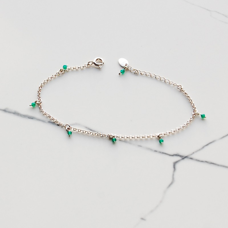 bransoletka srebrna z zielonymi onyksami