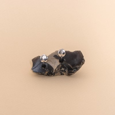 silver medallion earrings with onyx
