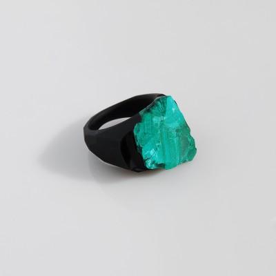 Pierścień z malachitem