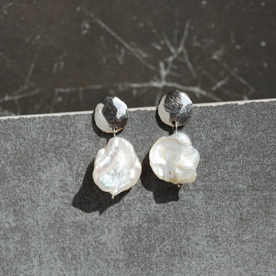 silver medallion earrings with pearls
