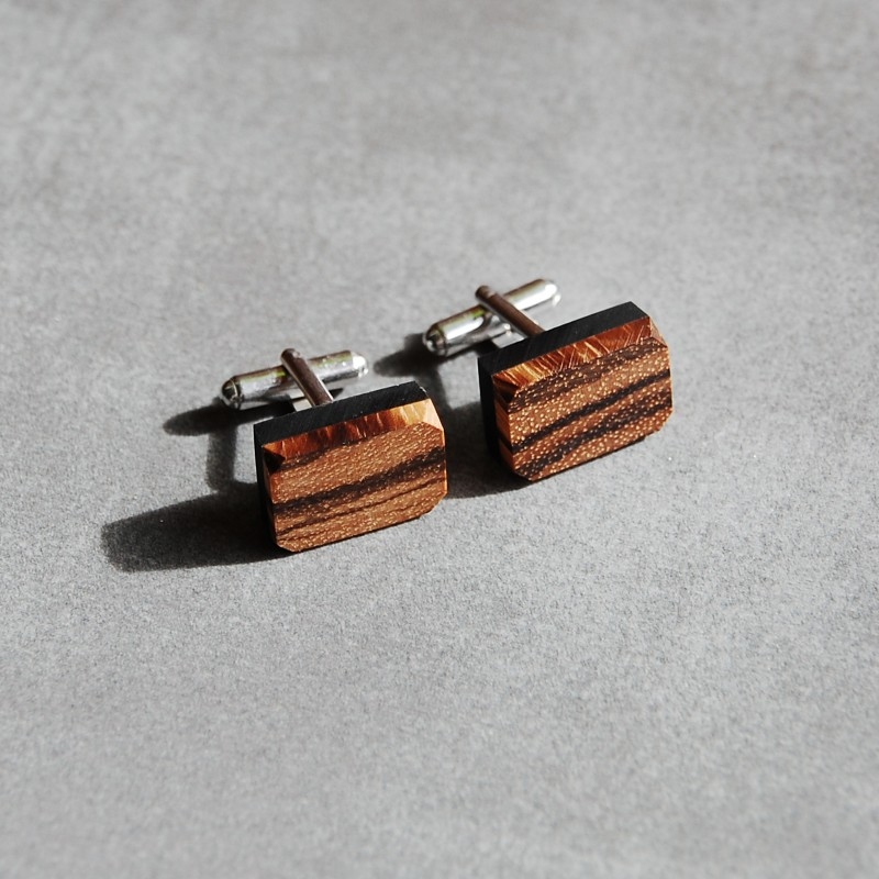 Prostokątne spinki mankietowe z drewnem